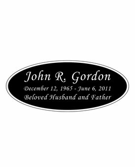 Black and Silver Engraved Nameplate - Oval - 4-1/4  x  1-3/4