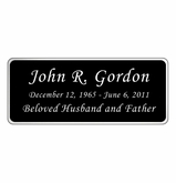 Black and Silver Engraved Nameplate - Rounded Corners - 3-1/2  x  1-7/16
