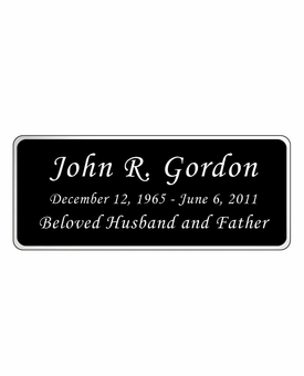 Black and Silver Engraved Nameplate - Rounded Corners - 4-1/4  x  1-3/4