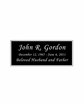 Black and Silver Engraved Nameplate - Square Corners - 3-1/2  x  1-7/16