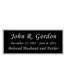 Black and Silver Engraved Nameplate - Square Corners - 4-1/4  x  1-3/4