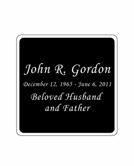 Black and Silver Engraved Nameplate - Square with Rounded Corners - 2-3/4  x  2-3/4