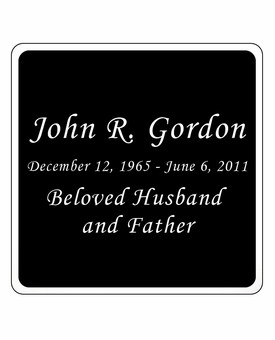 Black and Silver Engraved Nameplate - Square with Rounded Corners - 3-1/2  x  3-1/2