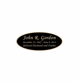 Black and Tan Engraved Nameplate - Oval - 2-3/4  x  1-1/8