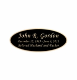 Black and Tan Engraved Nameplate - Oval - 3-1/2  x  1-7/16