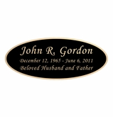 Black and Tan Engraved Nameplate - Oval - 4-1/4  x  1-3/4