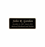 Black and Tan Engraved Nameplate - Rounded Corners - 2-3/4  x  1-1/8