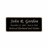Black and Tan Engraved Nameplate - Rounded Corners - 3-1/2  x  1-7/16