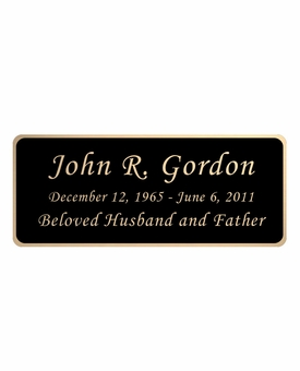 Black and Tan Engraved Nameplate - Rounded Corners - 4-1/4  x  1-3/4