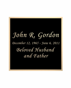Black and Tan Engraved Nameplate - Square - 2-3/4  x  2-3/4