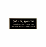 Black and Tan Engraved Nameplate - Square Corners - 2-3/4  x  1-1/8