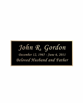 Black and Tan Engraved Nameplate - Square Corners - 3-1/2  x  1-7/16