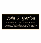 Black and Tan Engraved Nameplate - Square Corners - 4-1/4  x  1-3/4