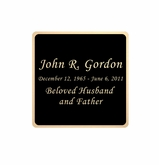 Black and Tan Engraved Nameplate - Square with Rounded Corners - 1-7/8  x  1-7/8