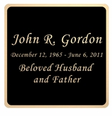 Black and Tan Engraved Nameplate - Square with Rounded Corners - 3-1/2  x  3-1/2