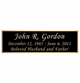 Black and Tan Flag Case Engraved Nameplate - Square Corners - 5  x  1-1/2