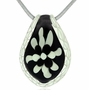 Black and White Cremains Encased in Glass Cremation Jewelry Pendant