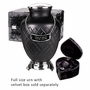 Black Baroque Hand Cut Art Glass Keepsake Cremation Urn