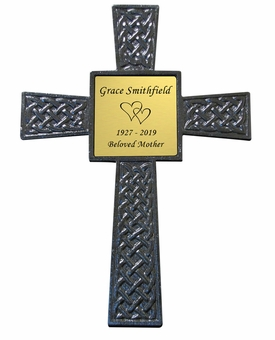 Black Celtic Memorial Steel Cross with Engraved Plate