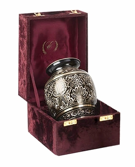 Black Elegance Gee Motif Brass Cremation Urn - Medium
