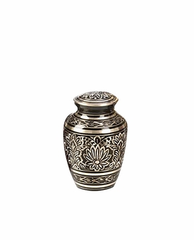 Black Elegance Gee Motif Brass Cremation Urn - Small