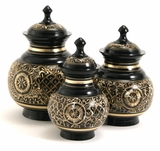 Black Engraved Cremation Urn - 3 Sizes