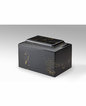 Black Gold Classic Cultured Marble Cremation Urn Vault - Engravable