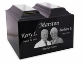 Black Granite Companion Niche Cremation Urn Vault with Engraved Photo