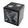 Black Granite Cube Pet Cremation Urn with Engraved Photo