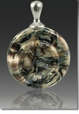 Black Granite Helix Cremains Encased in Glass Cremation Jewelry Pendant