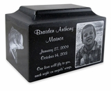 Black Granite Infant Child Small Cremation Urn with Engraved Photo