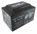 Black Granite Keepsake Cremation Urn with Engraved Photo