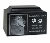 Black Granite Large Pet Cremation Urn with Engraved Photo