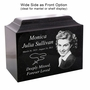 Black Granite Niche Cremation Urn Vault with Engraved Photo