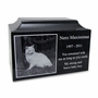 Black Granite Standard Size Pet Cremation Urn with Engraved Photo