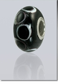 Black Lasting Memory Bead Cremains Encased in Glass Cremation Jewelry