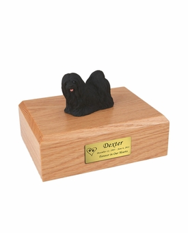 Black Lhasa Apso Dog Figurine Pet Cremation Urn - 761