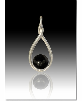 Black Melody Twist Cremains Encased in Glass Sterling Silver Cremation Jewelry Pendant