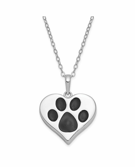 Black Paw Print in Heart Antiqued Sterling Silver Cremation Jewelry Pendant