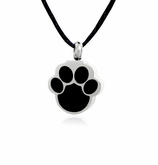 Black Paw Print Shape Stainless Steel Pet Cremation Jewelry Pendant Necklace