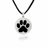 Black Paw Print Stainless Steel Pet Cremation Jewelry Pendant Necklace