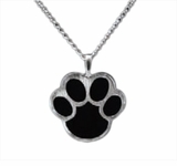 Black Paw Print Sterling Silver Cremation Jewelry Necklace