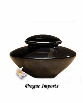Black Providence Silver Leaf Hand Blown Glass Cremation Urn