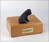 Black Shar Pei Dog Figurine Pet Cremation Urn - 854