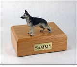 Black Silver German Shepherd Dog Figurine Pet Cremation Urn - 713