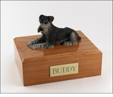 Black Silver Schnauzer Dog Figurine Pet Cremation Urn - 200