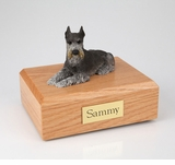 Black Silver Schnauzer Dog Figurine Pet Cremation Urn - 204