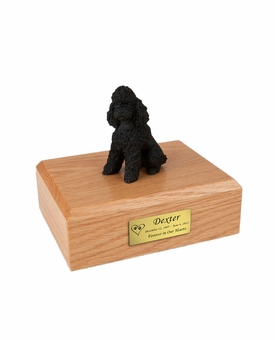 Black Sport Cut Poodle Dog Figurine Pet Cremation Urn - 815