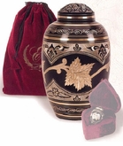 Black Toledo Leaf Brass Cremation Urn