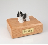 Black White Cocker Spaniel Dog Figurine Pet Cremation Urn - 683